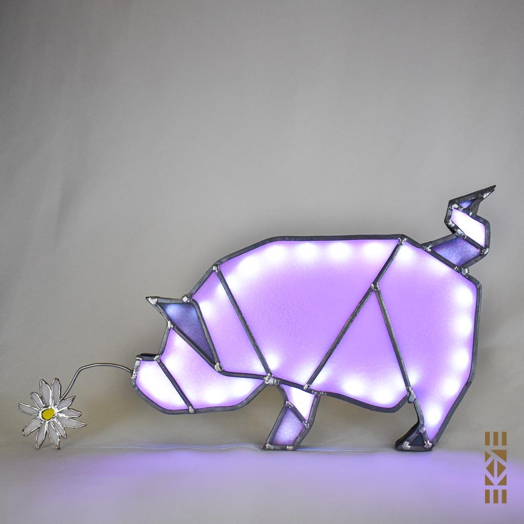 Ekaye | Le Bourdon et la luciole | Veilleuse Cochon blanc