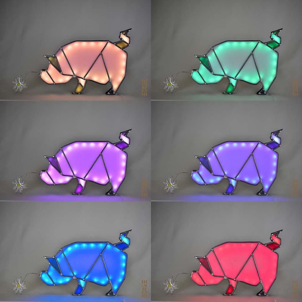 Ekaye | Le Bourdon et la luciole | Veilleuse Cochon couleurs