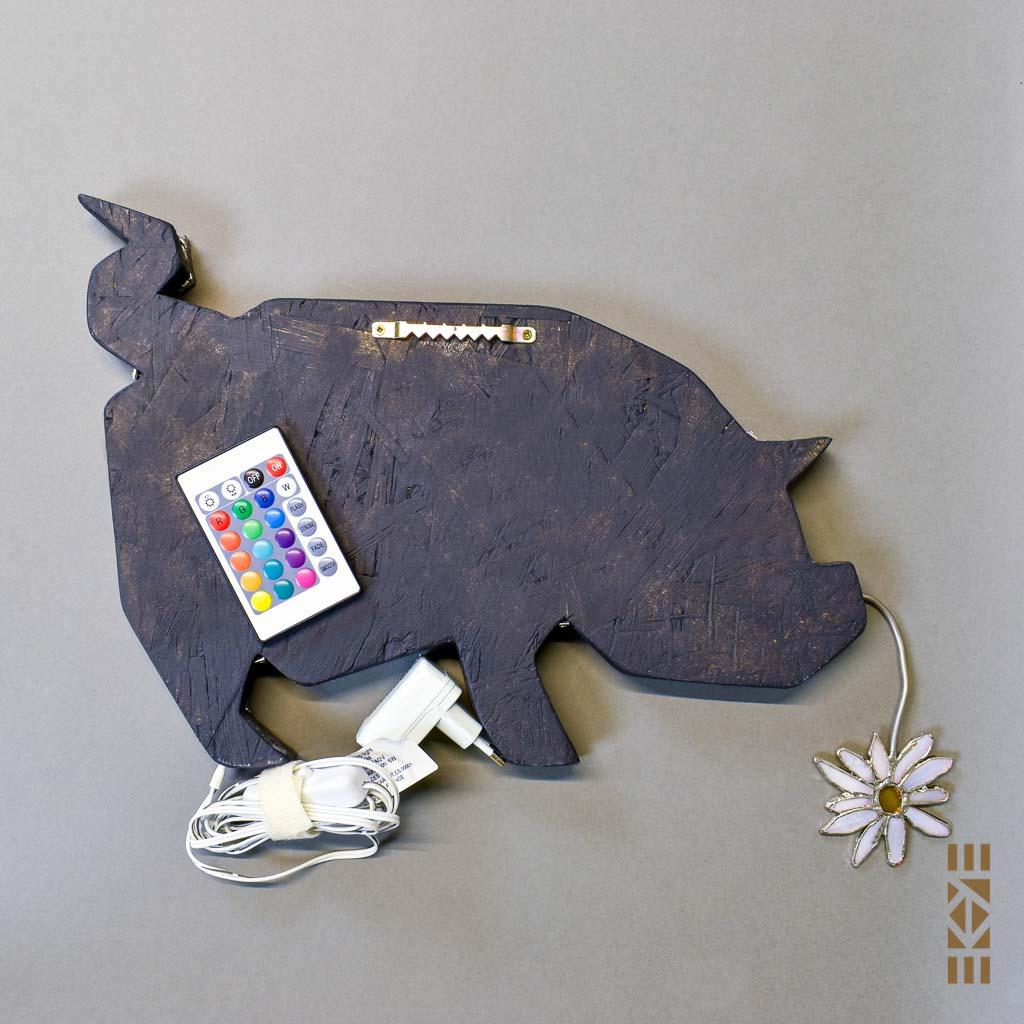 Veilleuse Cochon de dos accroche murale | Le Bourdon et la luciole | EKAYE