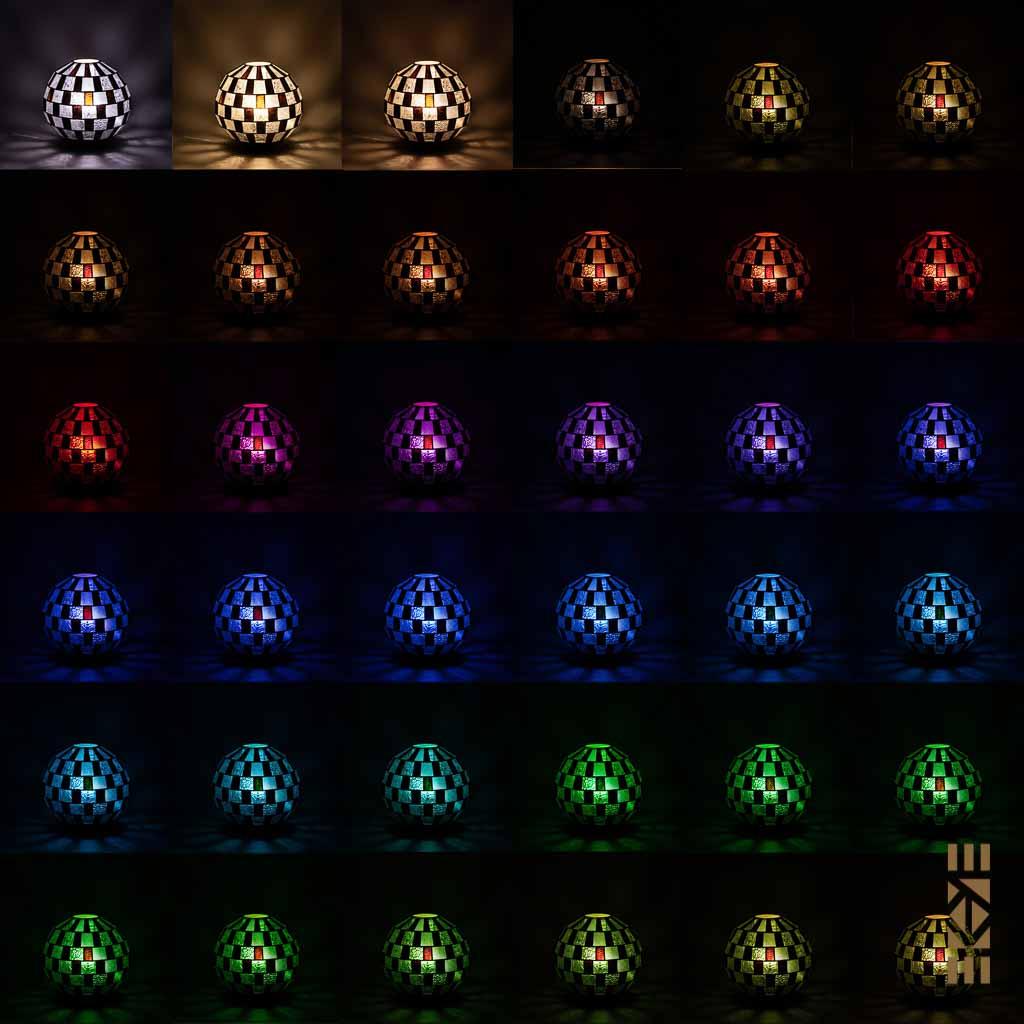 Lampe Alfons M-333 EKAYE allumée de nuit couleurs